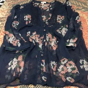 Joie Sheer Floral Button Blouse